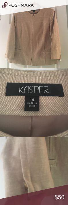 Kaspar kacki color zipper jacket. Size 14 Kaspar kacki jacket. 3/4 sleeves. Zipper front and zipper on sleeves. Super cute. In great condition Kasper Jackets & Coats Blazers