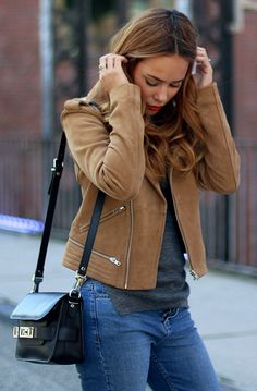 The suede jacket is the new denim jacket: just match one with a sweater and your fav jeans. Via teetharejade Shops: Not Specified