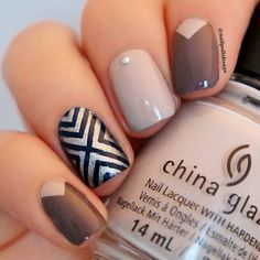 Cozy brown nails with a little bit of silver and dark blue  Products used: @snailvinyls X pattern stencils @chinaglazeofficial What's she dune (beige) @essiepolish Don't sweater it (brown) @opi_products Haven't the foggiest (silver) and Warsaw (blue). by nailpolishsaga