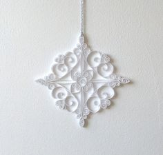 White Paper Snowflake, 5.5in Paper Quilled Snowflake, Christmas Snowflake…