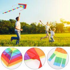 Top Selling 1 Stks Rainbow Kite Zonder Vliegende Gereedschap Outdoor Fun Sport Kite Fabriek Kinderen Driehoek Kleur Kite Gemakkelijk Fly