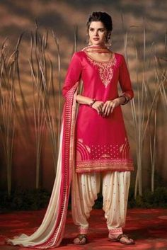 ea1c84d788 Wholesale Indian Festive Wear Embroidered Cotton Satin Patiyala Suit With  Dupatta Collection