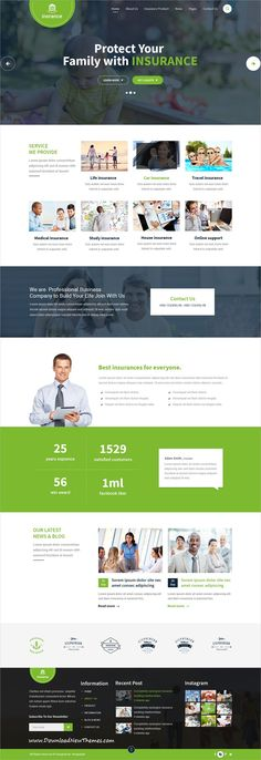 Professional clean and modern design #PSDtemplate for #insurance and #business agencies website with 4 homepage layouts and 21 layered PSD pages to live preview & download click on image or Visit