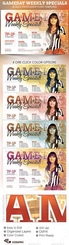 The Game Day Specials Flyer Template is great for any Sports Bar, Sports Club, Tailgate or Football/Superbowl Parties that needs a modern & unique look. In this package you'll find 1 Photoshop file. 4 One-Click color options are included. All layers are arranged, color coded and simple to edit. Sold exclusively on graphicriver.net $6.00