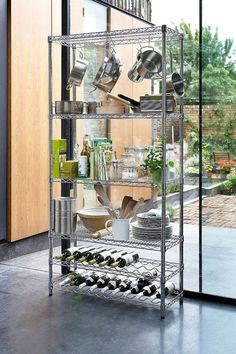 kitchen Pantry Rack - Chrome Kitchen Rack with Wine Shelves. Wine Shelves, Shelving Racks, Metal Shelves, Pantry Shelving, Open Shelving, Kitchen Trolley, Kitchen Pantry, Kitchen Storage, Kitchen Racks