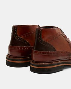 Leather brogue boots - Tan | Shoes | Ted Baker SEU