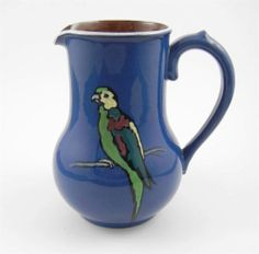 Vintage Pottery Pitcher Parrots Made in England