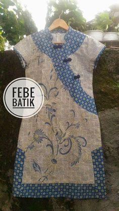 Model Dress Batik, Batik Dress, Dress Batik Kombinasi, Batik Kebaya, Blouse Batik, Batik Fashion, Kurti Neck Designs, Dress Making Patterns, Cute Blouses