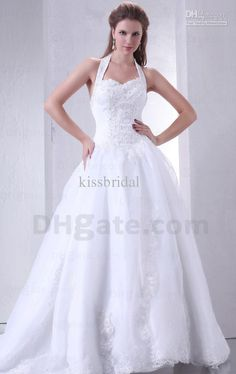 Wholesale 2013 Fall New Design Sexy White Floor Length Ball Gown Halter Appliques Sequin Tulle Wedding Dresses, Free shipping, $240.8-246.4/Piece | DHgate