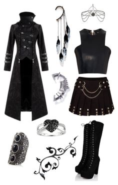 Gothic Punk by perpendicularpurple on Polyvore featuring мода, Balmain, Hooded Trench, Express, Anni Jürgenson, Ice, MARBELLA and Topshop