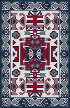 This cross stitch pattern features a design taken from a vintage Navajo rug.