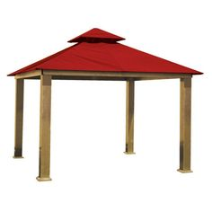 ACACIA by Riverstone Industries Gazebo Replacement Canopy Jockey Red Sunbrella - AGRC14-JOCKEY RED