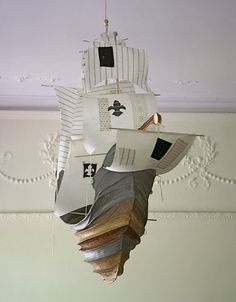 It's hard to put into words the beauty of these paper mache boats from artist Ann Wood. Neverland Nursery, Peter Pan Nursery, Ann Wood, Paper Mache Crafts, Paper Ship, Art Plastique, Boy Room, Sculpture Art, Paper Sculptures