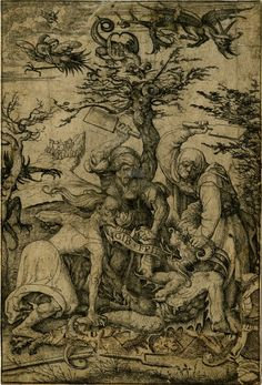 Date 1505-1536 Three haggard-looking old women, possibly witches, beating the devil to the ground, devilish creatures in the sky, landscape background; another impression; large section at lower right made up