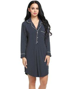 Ekouaer Sleep Tee Woman Notch Collar Vintage Nightshirts Lounge Wear (Navy, Medium)