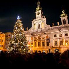Christmas in České Budějovice, Czechia Central Europe, Mansions, House Styles, Holiday Decor, Christmas, Bohemia, Mansion Houses, Yule, Xmas