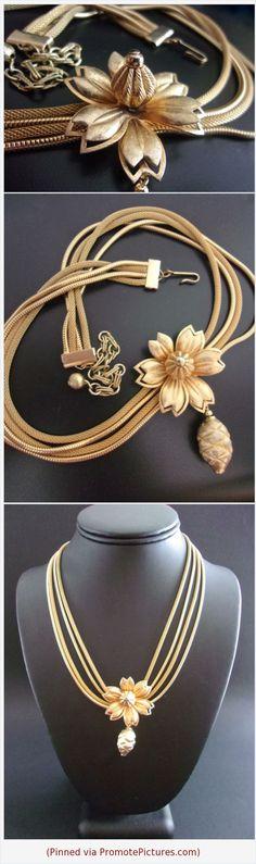 Gold Tone Mesh Multi Chain Flower Necklace, Pine Cone Pendant, Vintage #necklace #goldtone #vintage #flower #mesh #snakechain #pinecone #3Dpendant #multistrand https://www.etsy.com/RenaissanceFair/listing/583856377/gold-tone-mesh-multi-chain-flower?ref=listings_manager_grid  (Pinned using https://PromotePictures.com)