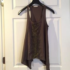 Army green lace detail tank top Like new condition. Worn a couple of times. Color is an army green/olive. Lush Tops Tank Tops