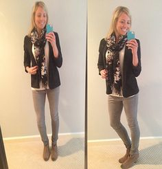 black blazer, gray skinny jeans, booties, sweater and scarf