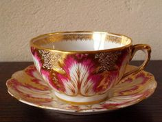 Aynsley...Bright Pink Floral with Gold Gilt cup and saucer...made for Tiffany, circa 1900