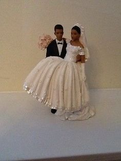 African American Couple Wedding Cake Topper Black