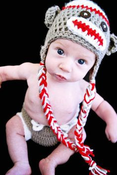 Sock monkey hat and diaper cover. @Sarah Ferrington Jackson would be adorable in this ;)