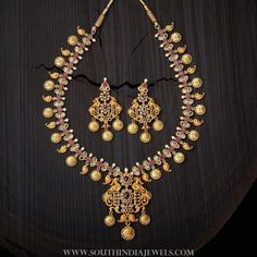 Gold Plated Ruby Necklace From Kushal's Fashion Jewellery