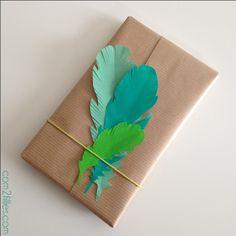 paquet cadeau plumes papier