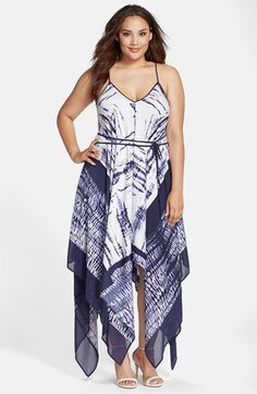 Adrianna Papell Handkerchief Hem Maxi Dress (Plus Size) available at #Nordstrom
