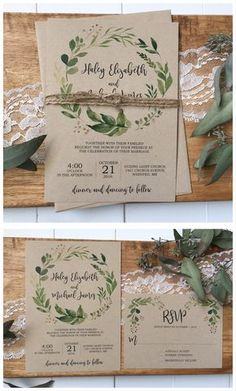 Rustic wedding invitation. Greenery wedding invitation Napkins, Tableware, Vintage, Wedding, Rustic Wedding Invitations, Mariage, Dinnerware, Dinner Napkins, Tablewares