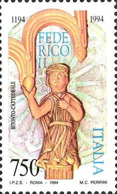 1994 - 7° centenario della nascita dell'Imperatore Federico II - Ritratto Federico II da un bassorilievo della Cattedrale di Bitonto (sec. XI-XII)