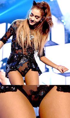 ariana grande short skirt and transparent panties - Celebrities Tight Hot