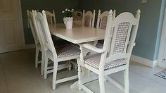 Shabby chic french country table and 6 chairs in Laura Ashley White & Gingham in Home, Furniture & DIY, Furniture, Table & Chair Sets Shabby Chic Table And Chairs, Table And Chair Sets, Shabby Chic Furniture, Diy Furniture, Ashley White, Laura Ashley, French Country Tables, Modern Table, Gingham