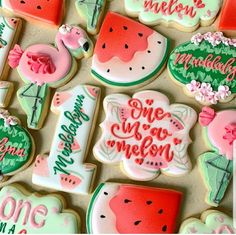 She's One in a Melon! This theme is just so cute and we added flamingos, which just takes it over the top. Enjoy your day, Maddalynn! Watermelon Birthday Parties, Watermelon Baby, 1st Birthday Party Themes, Birthday Ideas, Twin Birthday, Royal Icing Cookies, Cupcake Cookies, Fruit Cookies, Spice Cookies