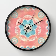 Vintage Floral Fantasy Wall Clock by ixrid