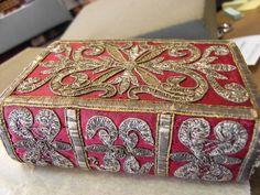 17th-century silverwork binding, beautiful embroidery details.