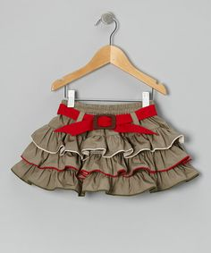 Take a look at this Khaki & Red Ruffle Belted Skirt - Infant, Toddler & Girls by the Silly Sissy on #zulily today!