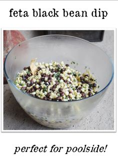1 can black beans, drained, 1 can white shoepeg corn drained, 1 package basil tomato, feta crumbled, 1/3 c sugar, 1/3 c olive oil, 1/3 c cider vinegar, 1-2 green onions. Combine all ingredients in a large bowl and chill before serving
