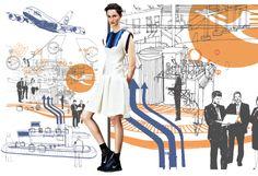 Fashion: Richard Chai Love's Resort 2013 Collection || Art: Bloomberg BusinessWeek A380 - Neasden Control Centre