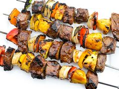 A ginger-teriyaki marinade and glaze gives these grilled beef kebabs a savory sweet flavor with just a little bite.