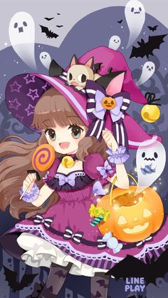 LINE play art it is so cute Witch Fashion, Line Friends, Drawing Practice, Pastel Goth, Kawaii Anime, Halloween Party, Cute Girls, Iphone Wallpaper, Chibi