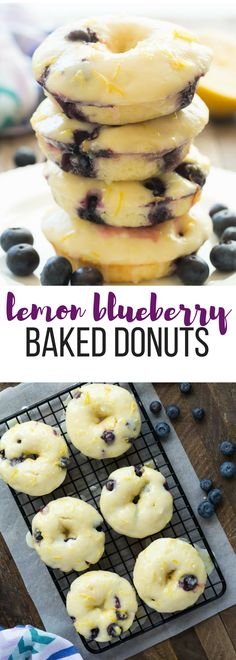 These Baked Lemon Blueberry Doughnuts are fluffy, packed with citrus flavor and bursting with blueberries and covered in a tangy glaze! Baked donuts are the perfect healthy breakfast or snack. Includes step by step recipe video. | baked donuts | lemon recipe | lemon dessert | baking | lemon donuts
