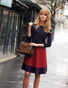 $78, Burgundy Skater Skirt: Boden Ponte Skater Skirt. Sold by Boden. Click for more info: https://lookastic.com/women/shop_items/44118/redirect