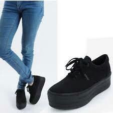 vans platform sneakers black