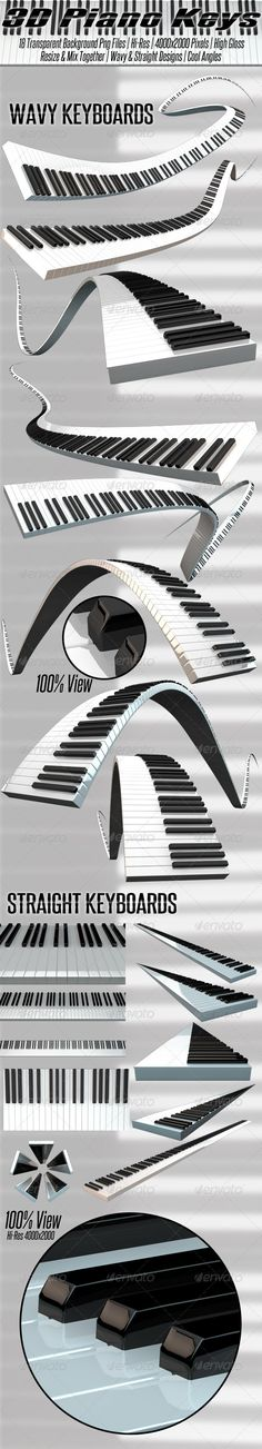 3D Rendered Piano Keyboards