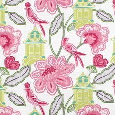 Upholstery Fabric, Drapery Fabric, Birds Fabric, SlipCover Fabric, Pink/Green/White Florals, CottageGardenFabric, Home Decor Fabric.