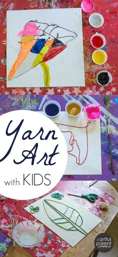 "What a fun idea for kids! Combine yarn art with painting. Would work with abstract or realistic art, or even ""scribble drawings."""