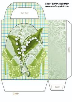 Lily of the valley shoe gift bag on Craftsuprint designed by Stephen Poore