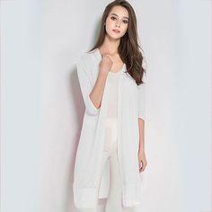 GAREMAY Women Summer Cardigan Knitted Chiffon Blouse Shirt Long Kimono Plus Size Crochet Poncho White Long Kimono Thin Tops 1637