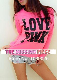 love pink 3D cc sweat shirt iswag women designer brand sexy fluorescent pink hoodie loose sportwear varsity jacket high street
